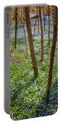 Blue Spring Flowers In Forest Portable Battery Charger