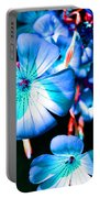 Blue Tint Flowers Portable Battery Charger