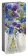 Blue Violet Flower Vase Portable Battery Charger