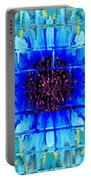 Blue Wallflower Abstract Portable Battery Charger