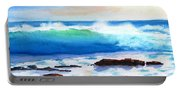 Blue Water Wave Crashing On Rocks Portable Battery Charger