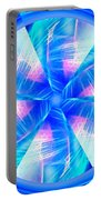 Blue Wheel Inflamed Abstract Portable Battery Charger