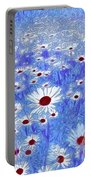 Blue With White Daisies Portable Battery Charger