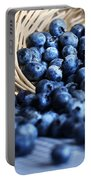 Blueberries Spilling From Wicker Basket Kitchen Art Portable Battery Charger