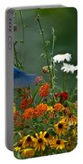 Bluebird And Colorful Flowers Portable Battery Charger