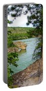 Bluff Over The River In Five Finger Rapids Recreation Site Along Klondike Hwy-yt  Portable Battery Charger