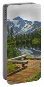 Board Walk- Lake- Fir Trees And Mount Baker Portable Battery Charger