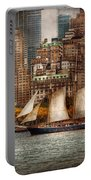 Boat - Governors Island Ny - Lower Manhattan Portable Battery Charger by Mike Savad
