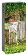 Boat Launch Outhouse - Texture Bw Portable Battery Charger