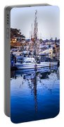 Boat Mast Reflection In Blue Ocean At Dock Morro Bay Marina Fine Art Photography Print Portable Battery Charger