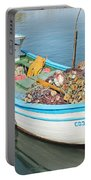 Boat Reflected In Sozopol Harbour Portable Battery Charger