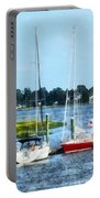 Boat - Two Docked Sailboats Norwalk Ct Portable Battery Charger