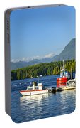 Boats At Dock In Tofino Portable Battery Charger