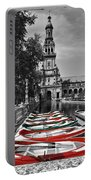 Boats By The Plaza De Espana Seville Portable Battery Charger by Mary Machare