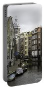 Boats In Canal Amsterdam Portable Battery Charger