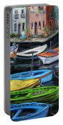 Boats In Front Of The Buildings II Portable Battery Charger