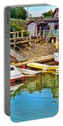 Boats In Halls Harbour-nova Scotia  Portable Battery Charger
