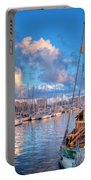 Boats In The Harbor Of Barcelona Portable Battery Charger