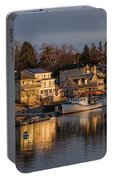 Boats Moored At Harbor During Dusk Portable Battery Charger