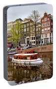 Boats On Canal In Amsterdam Portable Battery Charger