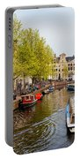 Boats On Canal Tour In Amsterdam Portable Battery Charger