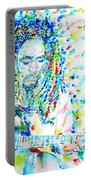 Bob Marley Playing The Guitar - Watercolor Portarit Portable Battery Charger
