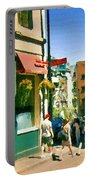 Bonaparte 4 Star Classic French Resto Vieux Montreal Paris Style Bistro Paintings Carole Spandau Art Portable Battery Charger