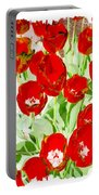 Bordered Red Tulips Portable Battery Charger