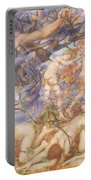 Boreas And Fallen Leaves Portable Battery Charger by Evelyn De Morgan