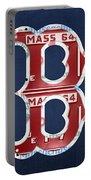 Boston Red Sox Logo Letter B Baseball Team Vintage License Plate Art Portable Battery Charger by Design Turnpike