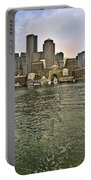Boston Skyline At Sunset Portable Battery Charger