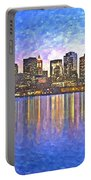 Boston Skyline By Night Portable Battery Charger