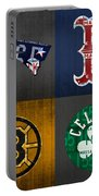 Boston Sports Fan Recycled Vintage Massachusetts License Plate Art Patriots Red Sox Bruins Celtics Portable Battery Charger