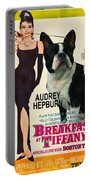 Boston Terrier Art - Breakfast At Tiffany Movie Poster Portable Battery Charger
