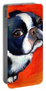 Boston Terrier Dog Painting Prints Portable Battery Charger