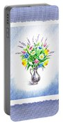 Botanical Impressionism Watercolor Bouquet Portable Battery Charger