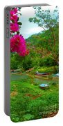 Bouganvilla Watches Over Village Fishing Boats Portable Battery Charger