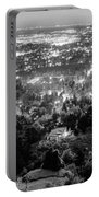 Boulder Colorado City Lights Panorama  Black And White Portable Battery Charger