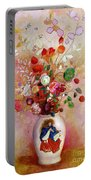 Bouquet Of Flowers In A Japanese Vase Portable Battery Charger by Odilon Redon