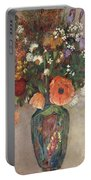 Bouquet Of Flowers In A Vase Portable Battery Charger by Odilon Redon