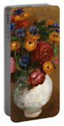 Bouquet Of Flowers In A White Vase Portable Battery Charger