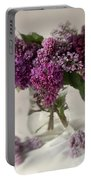 Bouquet Of Lilacs In A Glass Pot Portable Battery Charger