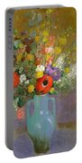 Bouquet Of Wild Flowers  Portable Battery Charger by Odilon Redon