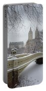 Bow Bridge Central Park In Winter  Portable Battery Charger