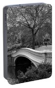 Bow Bridge Nyc In Black And White Portable Battery Charger