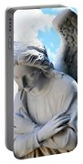Bowing Male Angel With Blue Sky And Clouds Portable Battery Charger