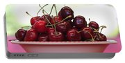 Bowl Of Cherries Closeup Portable Battery Charger