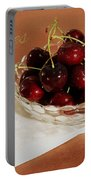 Bowl Of Cherries With Text Portable Battery Charger