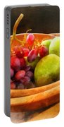 Bowl Of Red Grapes And Pears Portable Battery Charger by Susan Savad