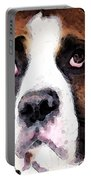 Boxer Art - Sad Eyes Portable Battery Charger by Sharon Cummings